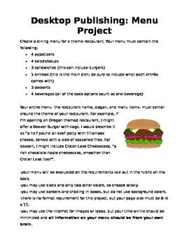 Desktop Publishing Restaurant Menu Project