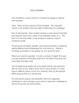 Scrabble--Solo Desktop Puzzle