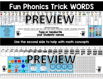 Desktop Word Wall & Math Helper Name Tag with FUN Phonics First Grade words