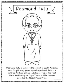 Desmond Tutu Biography Coloring Page Activity or Poster, S
