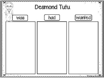 Desmond Tutu Graphic Organizers