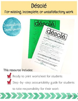 Désolé: For missing, incomplete, or unsatisfactory work