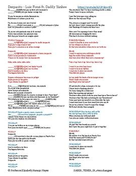 Despacito - Luis Fonsi ft Daddy Yankee - SABER, TENER, IR, stem changers