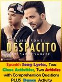 Despacito Song Lyrics & Activities in Spanish - Luis Fonsi & Daddy Yankee Musica