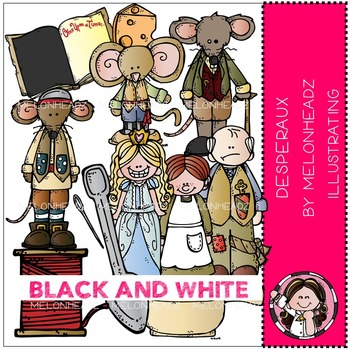Desperaux clip art - BLACK AND WHITE- by Melonheadz