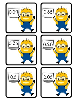 Despicable Decimals! Matching decimals to word, fraction, and base-ten form.