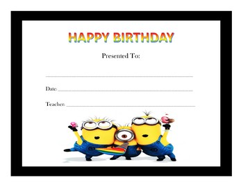 Despicable Me Birthday Certificates (Includes 8 Certificates)