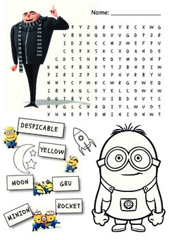 Despicable Me - Wordsearch and colouring