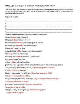 Despues de la Escuela - Ar verbs, pronouns, extracurriculars reading and grammar