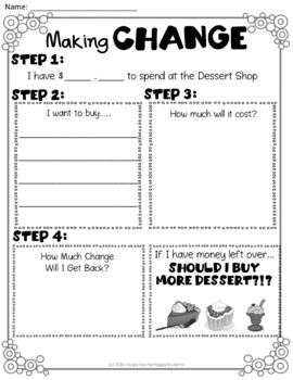 Making Change Activity: Welcome to the Dessert Shop!