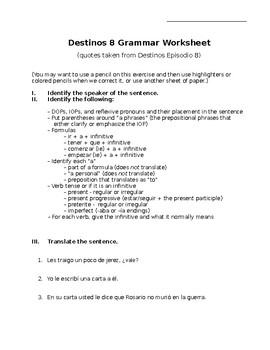 Destinos 8 Grammar Worksheet