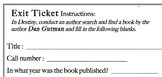 Destiny Library Catalog Practice & 'Exit Ticket'