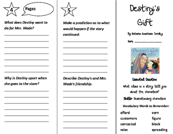 Destiny's Gift Trifold - Journeys 3rd Grade Unit 1 Week 3 (2011 Version)
