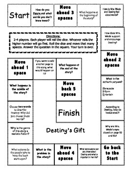 """Destiny's Gift"" Comprehension Game Board- Journeys story 3rd grade"