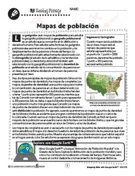 Destrezas cartográficas con Google Earth™: Mapas de población Gr. 6-8