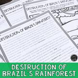 Destruction of Brazil's Rainforest Reading & Writing Activity (SS6G2, SS6G2b)
