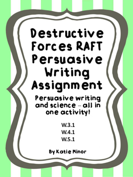 Destructive Forces - Persuasive Writing RAFT {Volcano, Earthquake, Landslide}