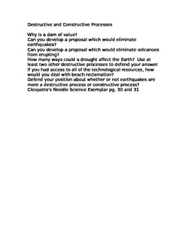 Destructive and Constructive higher order thinking questions