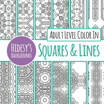 Detailed Adult Level Detailed Color In Backgrounds / Digital Paper Black & White