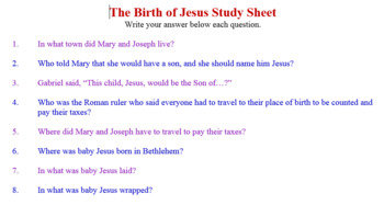 Detailed Birth of Christ Worksheets from Zacharias Through Return from Egypt