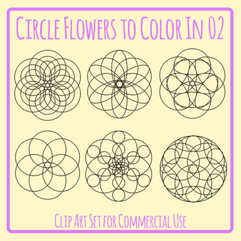 Detailed Circle Flowers / Mandalas / Spirograph Color In Clip Art