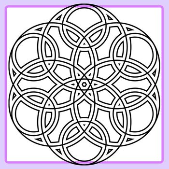 Detailed Circle Flowers / Mandalas to Color In Clip Art for Commercial Use