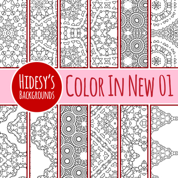 Detailed Color In Backgrounds / Digital Papers N01 Clip Art Set Commercial Use