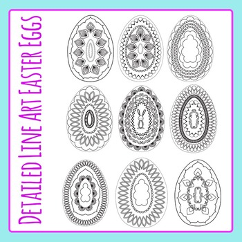 Detailed Color In Easter Eggs - Commercial Use Clip Art