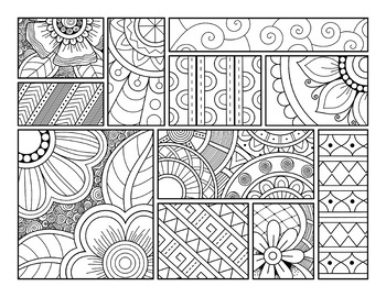 Detailed Coloring Sheets Set 1- 20 Patterned Coloring Pages