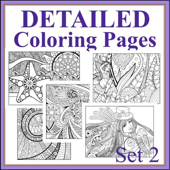 Detailed Coloring Sheets Set 2- 20 Patterned Coloring Pages