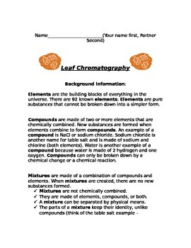 Leaf Chromatography Lab Worksheets & Teaching Resources   TpT