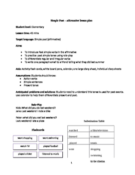 Detailed Lesson Plan to help you teach The Simple Past aff