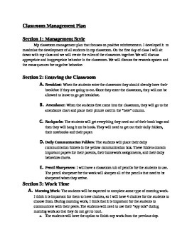 Detailed Management Plan