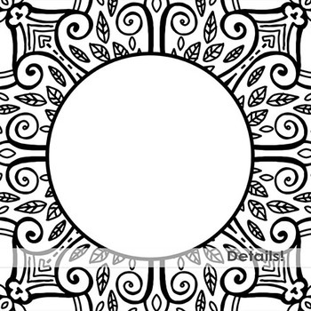 Detailed Monogram Medallion Frames, Doodled Lace Circles, Round Borders