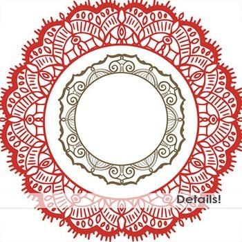 Detailed Monogram Medallion Frames, Doodled Lace Circles, Round Borders
