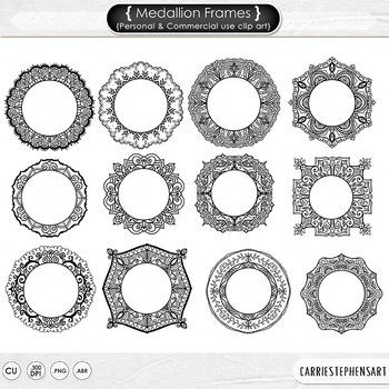 Detailed Monogram Medallion Frames, Doodled Lace Circles,