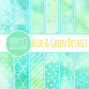 Detailed Overlay Green and Blue Watercolor Washes Digital Paper / Background