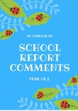 UK Curriculum Report Comments Year 1/2 - Bundle Pack