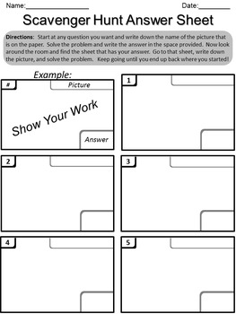 Detailed Scavenger Hunt Directions and Student Answer Recording Sheets