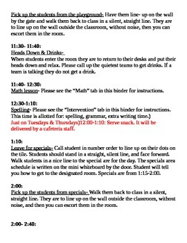 Detailed Substitute Class Schedule