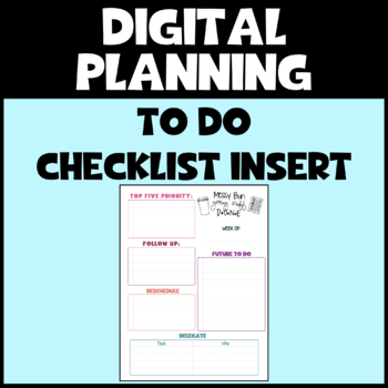 Detailed To Do Checklist for Digital Planner (GoodNotes Compatible)