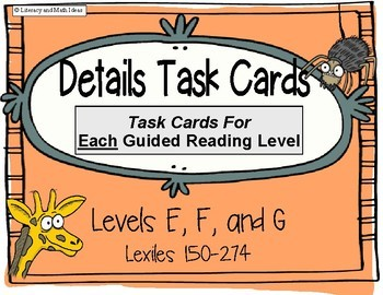 Details Task Cards For Each Guided Reading Level (Levels E, F, G)