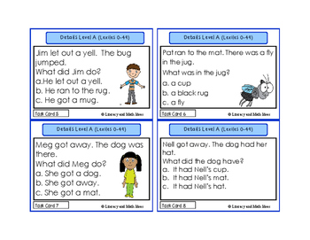 Details Task Cards Lexile/Guided Reading Levels 0-149 (Levels A,B,C,D)