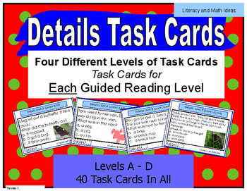 Details Task Cards Lexile/Guided Reading Levels 0-149 (Lev