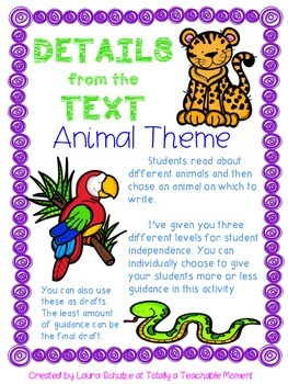 Details from the Text- Animal Theme
