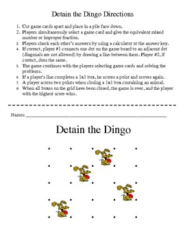 Detain the Dingo - Improper Fractions & Mixed Numbers Game