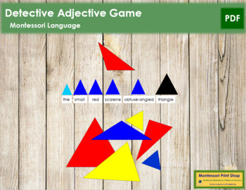 Detective Adjective Game 21 Pieces of Triangles