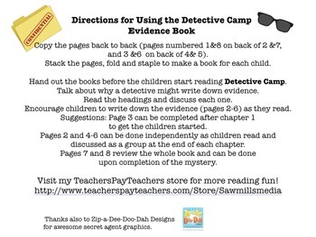 Detective Camp by Ron Roy - Notetaking/Comprehension/Conclusions