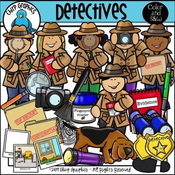 Detective Clip Art Set - Chirp Graphics