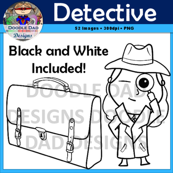 Detective Clip Art (Spy, Sherlock Holmes, Disguise, Magnifying Glass)